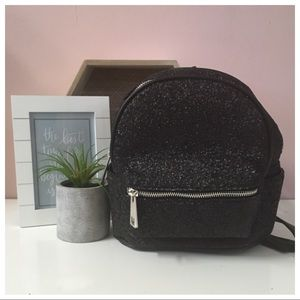 Street Level Black Glitter Mini BackPack